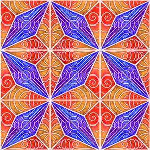 Whitework Diamond Quilt Square_ blue and orange