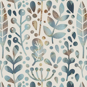 Neutral retreat - muted blue - large scale