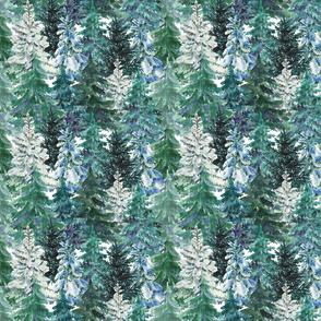 Christmas pine tree forest green white watercolor