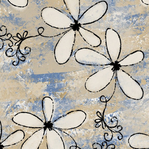 Cream Flowers Dusty Blue (large scale)