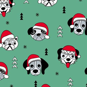 Little puppy friends Christmas dogs pug pitbull shepherd and poodle with santa hat green red