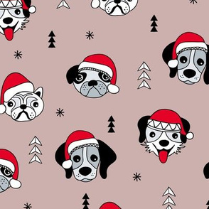 Little puppy friends Christmas dogs pug pitbull shepherd and poodle with santa hat mauve sandy beige