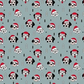 Little puppy friends Christmas dogs pug pitbull shepherd and poodle with santa hat winter stone gray blue SMALL