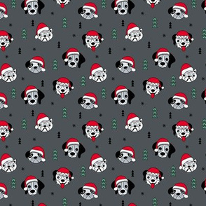Little puppy friends Christmas dogs pug pitbull shepherd and poodle with santa hat charcoal gray red green SMALL