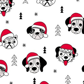 Little puppy friends Christmas dogs pug pitbull shepherd and poodle with santa hat black and white red