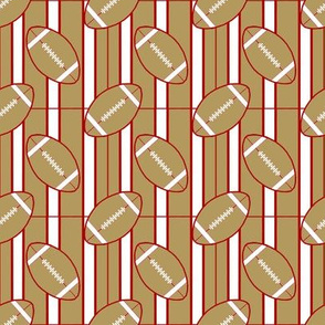 Stripes and Red Gold White Football Polka Dots