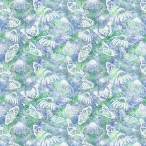Mini Soft Echinaceas and Butterflies on Blue Green Sunprint Texture x4