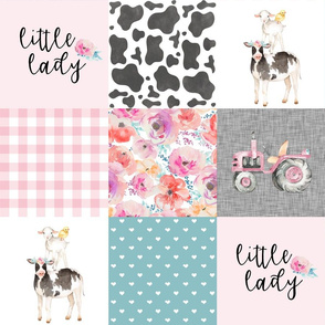 Farm//Little Lady//Love you till the cows come home//Tractor - Wholecloth Cheater Quilt