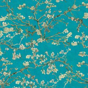 Vincent Van Gogh Almond Blossom on Teal Blue Background