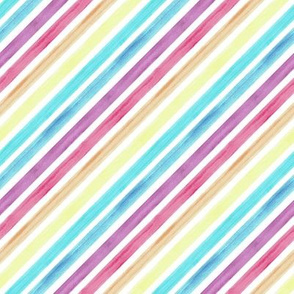 Diagonal Rainbow Watercolour Painted Lines