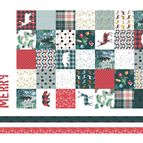 Merry Christmas blanket cheater quilt wall hanging panel  red green deers bears