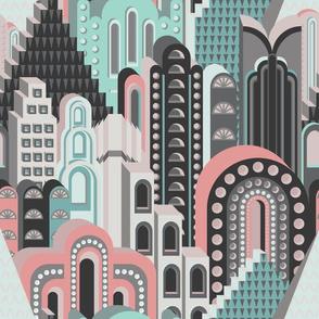 Deco Metropolis Medium Scale Pastel Peach Sea Green