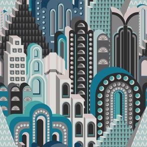 Deco Metropolis Medium Scale Blue Cyan