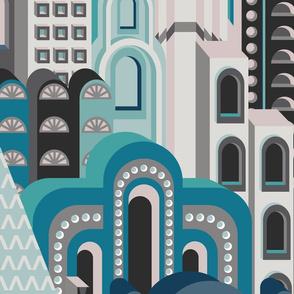 Deco Metropolis Large Scale Blue Cyan