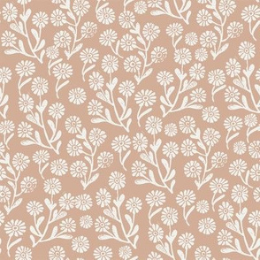 daisies fabric - almond sfx1213 - daisy fabric, delicate ditsy floral fabric, ditsy daisies, prairie floral fabric, baby girl fabric, trendy nursery fabric