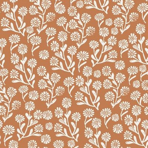 daisies fabric - caramel sfx1346 - daisy fabric, delicate ditsy floral fabric, ditsy daisies, prairie floral fabric, baby girl fabric, trendy nursery fabric