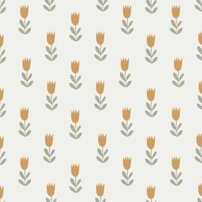 tulips fabric - sfx1144, sfx0110, earth toned fabric, baby fabric, linen trend, terracotta, prairie, baby girl fabric, hippie boho fabric, linocut tulips fabric