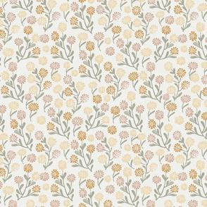 daisies fabric -  oak leaf chamomile almond sage, sfx0110, sfx1213, sfx0916, sfx1144 - daisy fabric, delicate ditsy floral fabric, ditsy daisies, prairie floral fabric, baby girl fabric, trendy nursery fabric