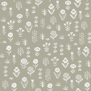 wildflower fabric - sfx0110 sage - linocut block print fabric - floral fabric, girls nursery fabric, kids bedding fabric