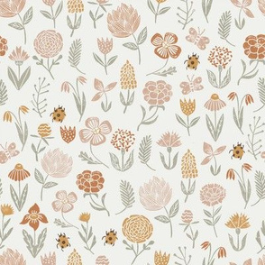 meadow floral - oak leaf, almond, sage, caramel  - baby girl floral, earth tone floral, sage florals, nursery fabric, baby fabric, kids bedding