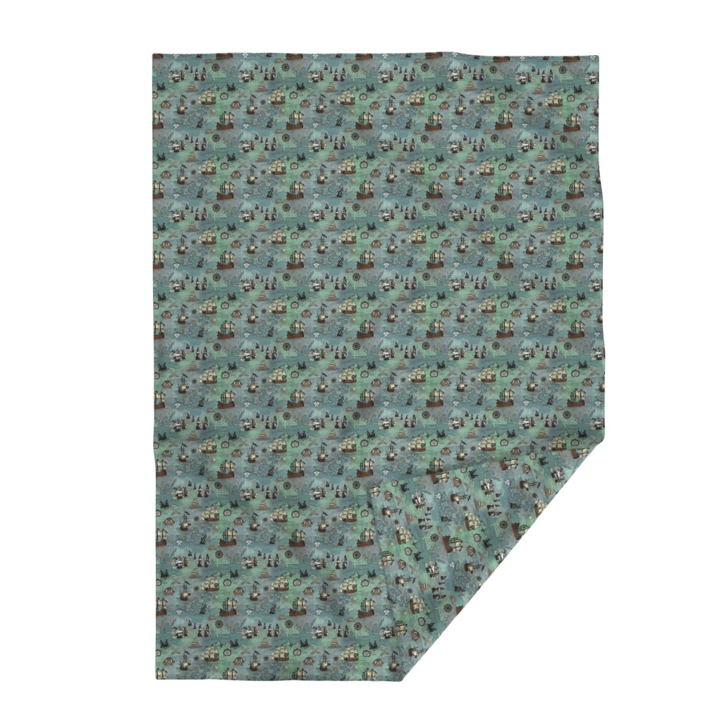 Lakenvelder Throw Blanket featuring Pirate Ships Map Blue Smallest Repeat by teja_jamilla