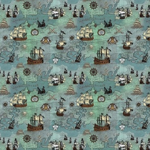 Pirate Ships Map Blue Smallest Repeat