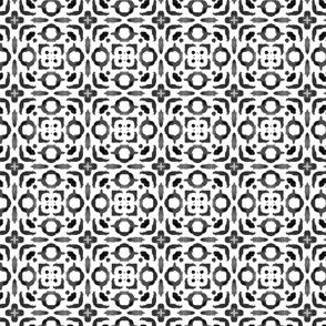 19-11ad Neutral Black White Gray Small Geometric Ethnic Tile