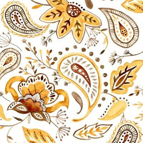 Lovely Paisley Florals Mustard