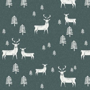 deer spruce green - sfx5914, reindeer fabric, deer fabric, winter fabric, wintergreen, evergreen