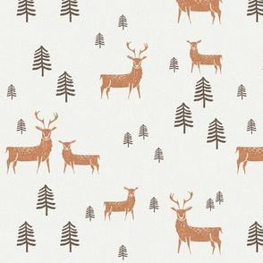 deer caramel pinecone - sfx1346, deer fabric, winter fabric, reindeer fabric, christmas fabric