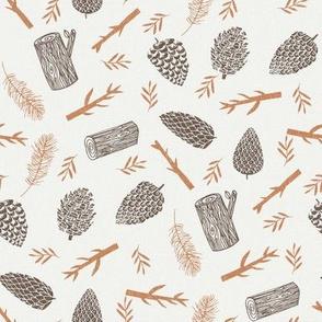 pinecone fabric - fall autumn design - caramel pinecone - sfx1346, pinecones fabric, winter fabric, nature fabric, minimal nature fabric, earth toned fabric
