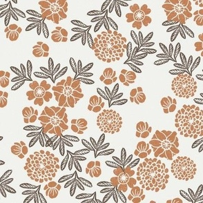 floral caramel pinecone - sfx1346, floral fabric, terracotta trend fabric, holiday floral
