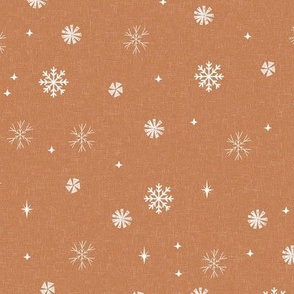 snow caramel - sfx1346, winter fabric, holiday fabric,  terracotta trend, snowflakes fabric