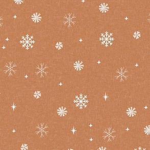 snow caramel - sfx1346, winter fabric, holiday fabric,  terracotta trend, snowflakes fabric