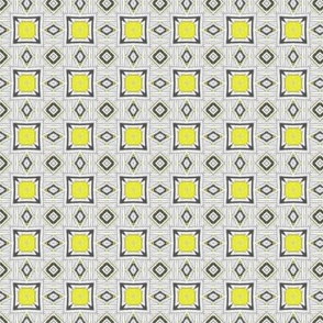 19-11ab Gray Yellow Tribal Small Scale Geometric Tile