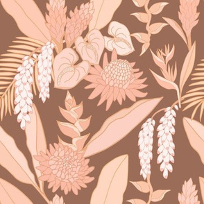 Tropical bouquet on brown