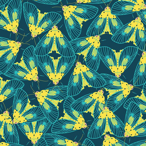 Yellow and blue moths repeat pattern.