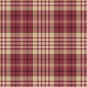 Plaid Garnet Red with Gold White Black