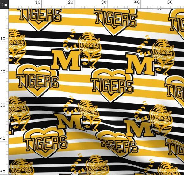 Missouri Tigers Stripes Heart School Tea Spoonflower