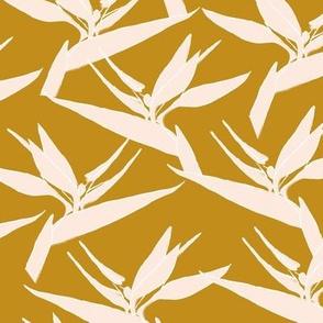SMALL birds of paradise - mustard  & pale peach - small