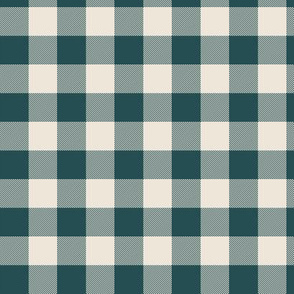 Green and cream tartan plaid