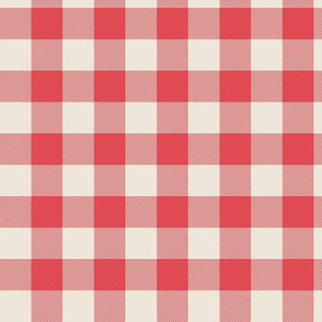 Red and cream plaid tartan