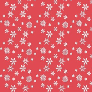 White snowflakes on red