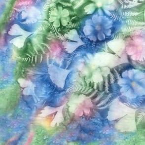 Med Blue Green Pink Ginkgo Fern Cosmos Half Drop