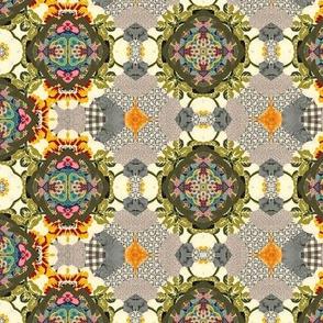 19-11j Olive Green Taupe Farm Calico Vintage
