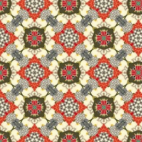 19-11i Olive Red Taupe Ivory Abstract Floral Farm Calico Vintage Small
