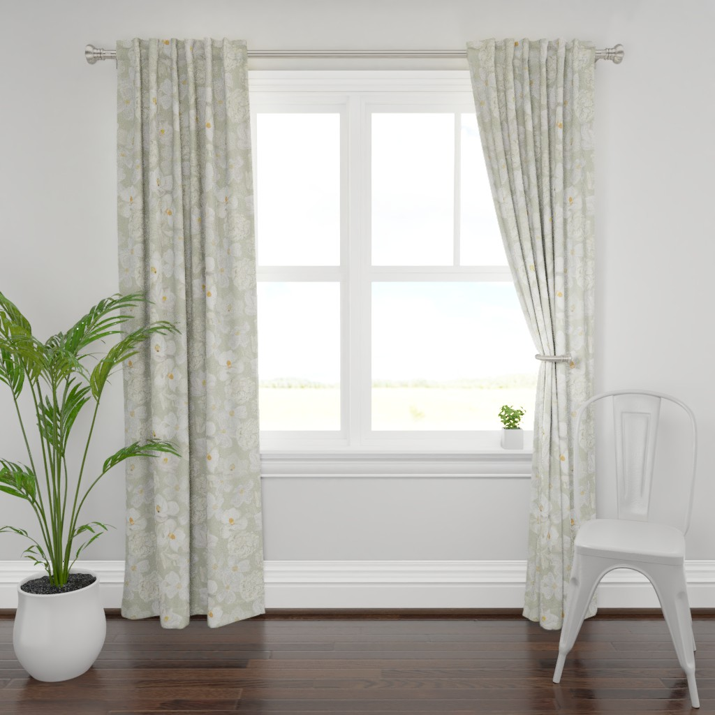 Plymouth Curtain Panel featuring White Flowers - Pale Green by dasbrooklyn