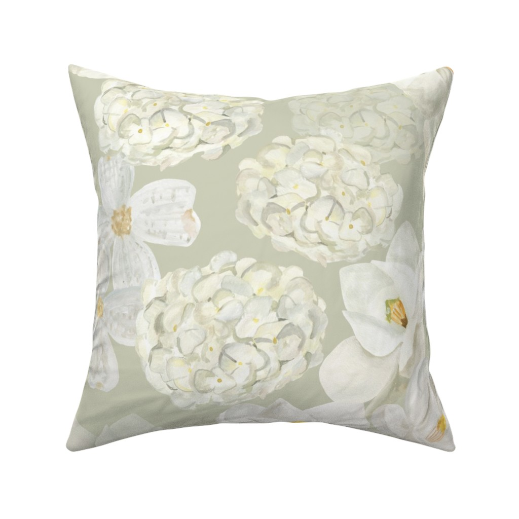 Catalan Throw Pillow featuring White Flowers - Pale Green by dasbrooklyn