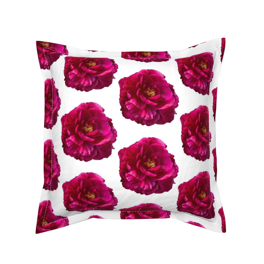 Serama Throw Pillow featuring Peony Flower by creative_spaces