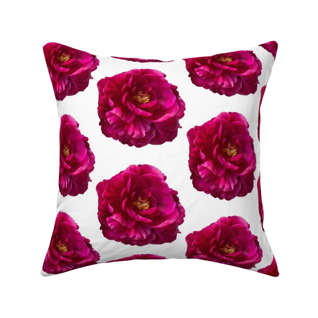 Catalan Throw Pillow featuring Peony Flower by creative_spaces